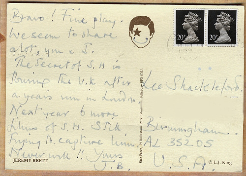 Jeremy Brett Card to Lee Shackleford
